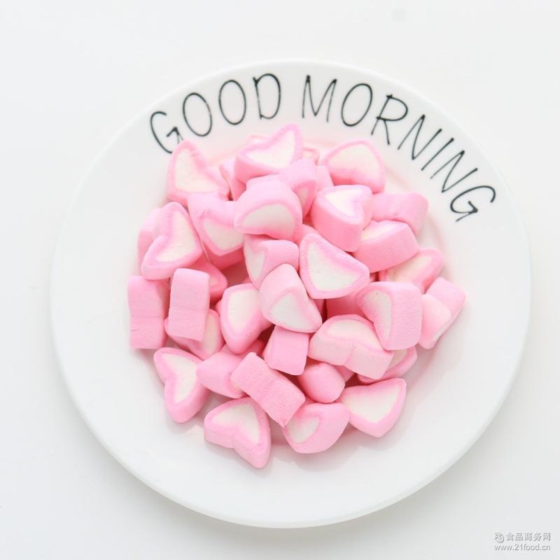 批发爱心心形粉色白色棉花糖蛋糕装饰彩色形状软糖咖啡伴侣喜糖