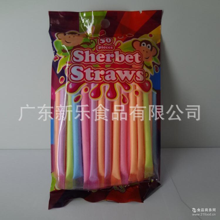 销售水果味吸管粉袋装玩具糖 童年休闲零食吸管粉糖 有趣粉末糖