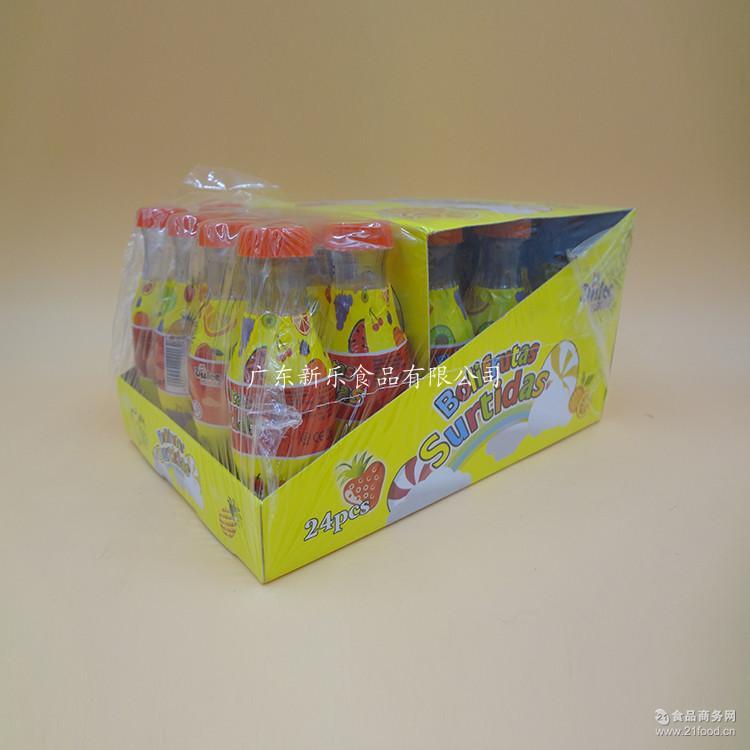 创意供应七彩可乐瓶糖果 批发新乐休闲食品24瓶硬糖果