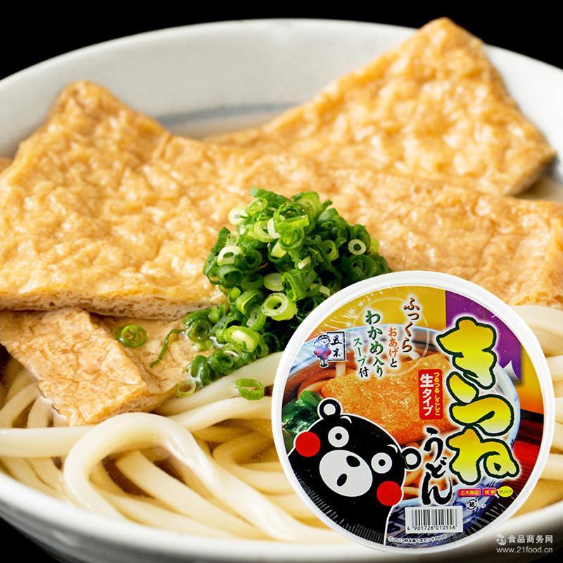 碗面非油炸方便面 五木熊本熊素鸡油豆腐乌冬面166g 日本进口
