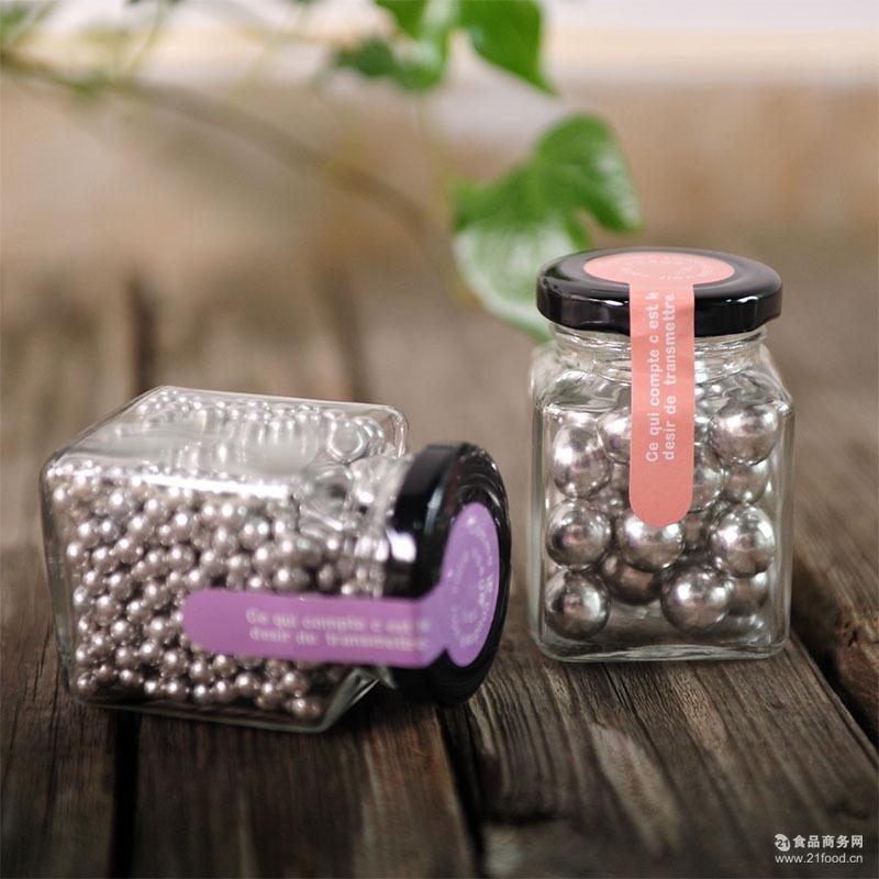 钢珠糖大小银珠糖瓶装儿童糖果可乐薄荷味创意蛋糕装饰弹珠糖100g