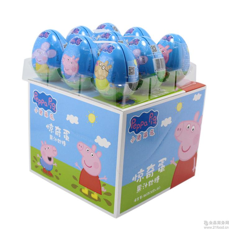 铁彩蛋儿童*休闲零食内含玩具 香港小猪佩奇奇趣蛋果汁软糖10g