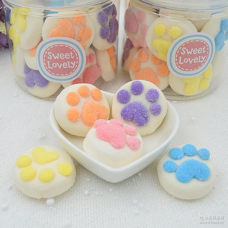 创意猫爪零食糖果软糖咖啡伴侣 厂家批发 彩色猫爪棉花糖100g罐装
