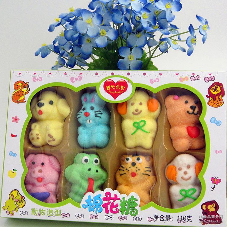 休闲零食糖果 儿童礼品 批发动物造型棉花糖零食 110g