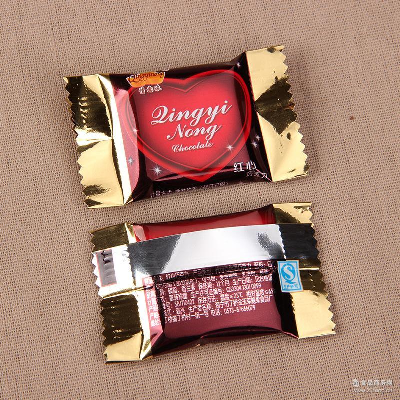 红心代可可脂婚庆糖果牛奶巧克力休闲零食散装喜糖批发