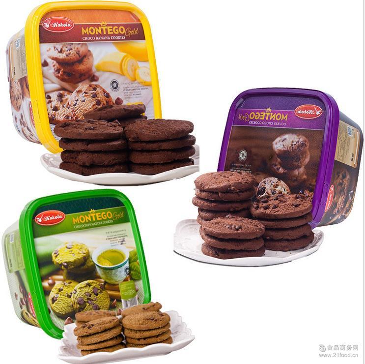 印尼进口休闲零食可可乐巧克力豆抹茶香蕉味曲奇饼干225g*12盒/箱