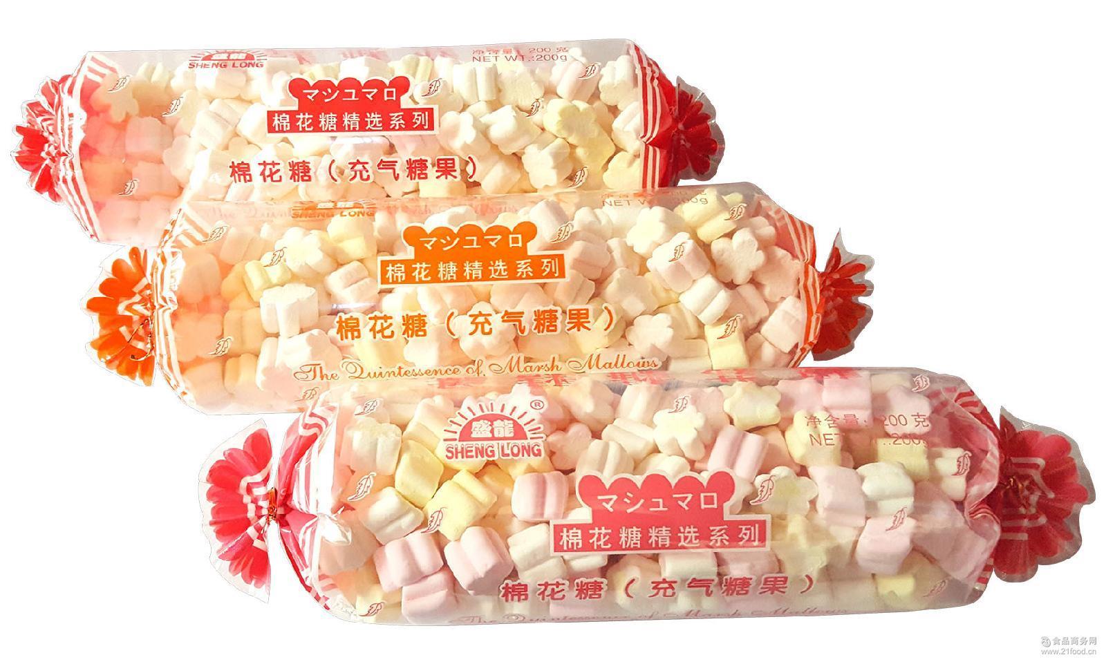 盛龙牌糖果形棉花糖200g大包装喜庆装厂家直销六一儿童节休闲食品