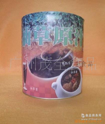 名忠烧仙草冻 凉粉草 黑钻(砖)奶茶专用2.9KG! 仙草冻罐头