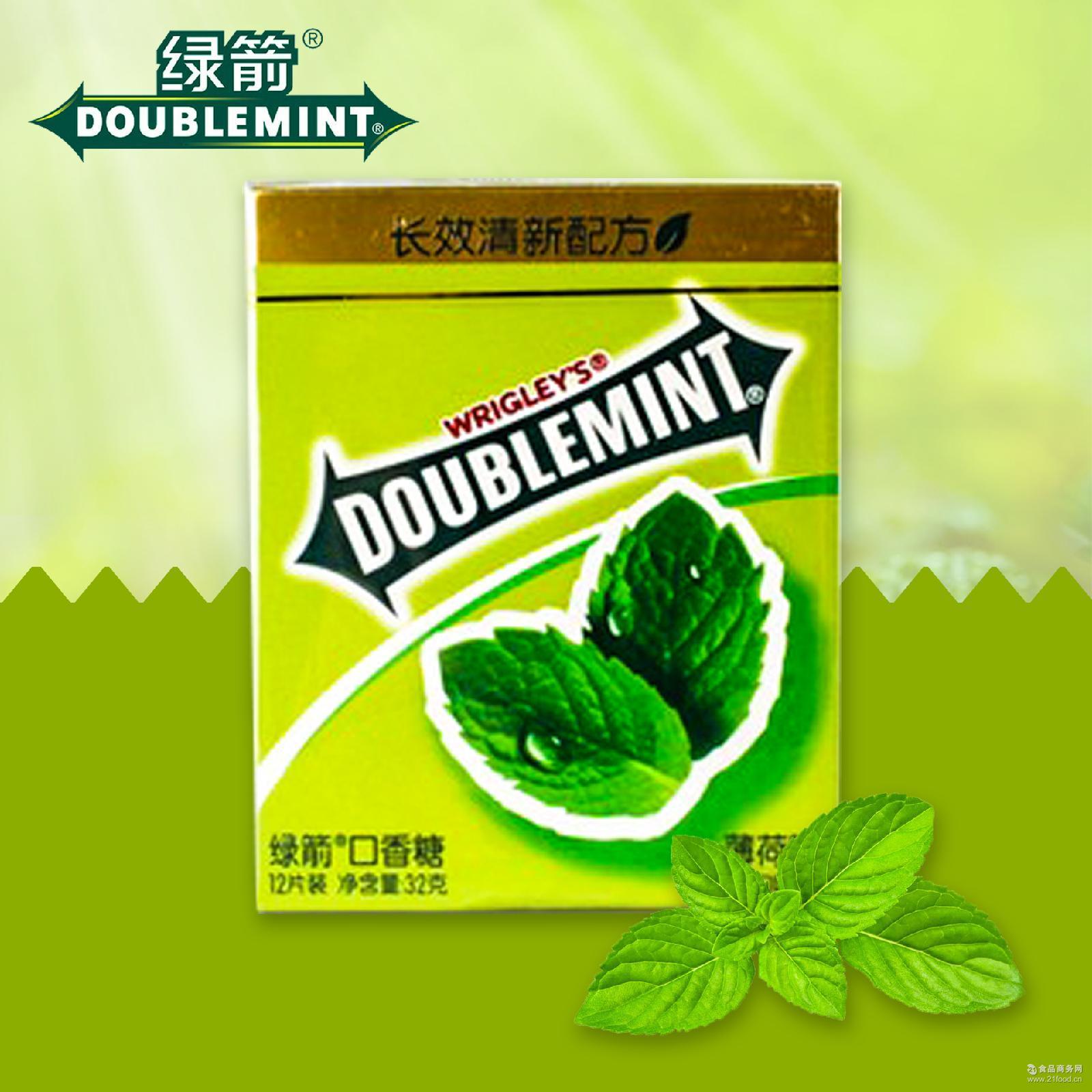 固态咀嚼型口香糖 12片绿箭口香糖清新薄荷味20条装休闲零食批发