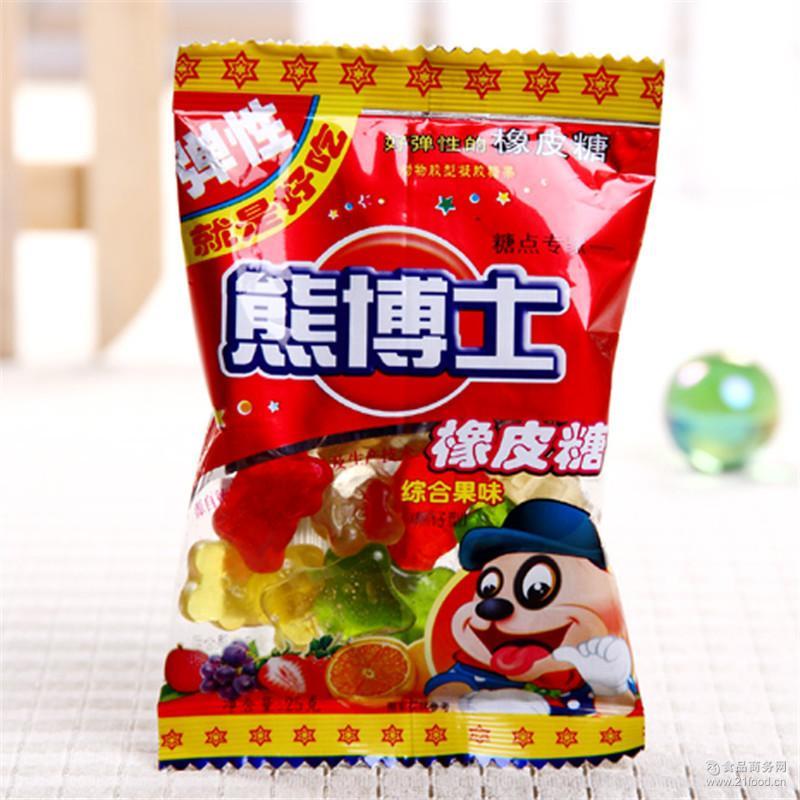儿童休闲食品徐福记熊博士橡皮糖 整包批发60g可乐味橡皮糖
