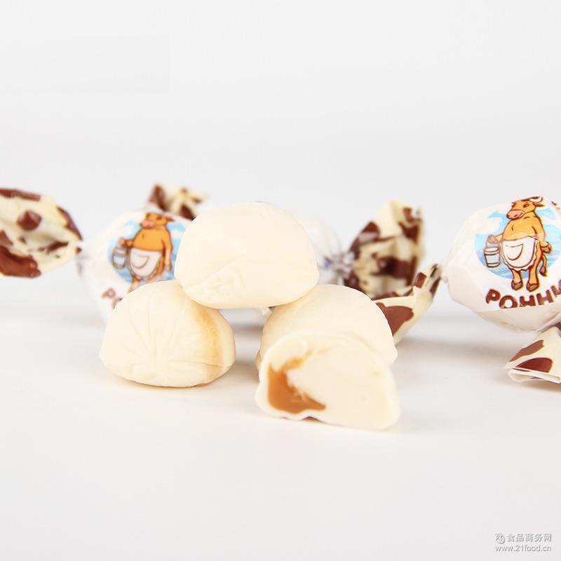俄罗斯进口POHHN小牛牛奶软糖奶糖果酱夹心喜糖250g