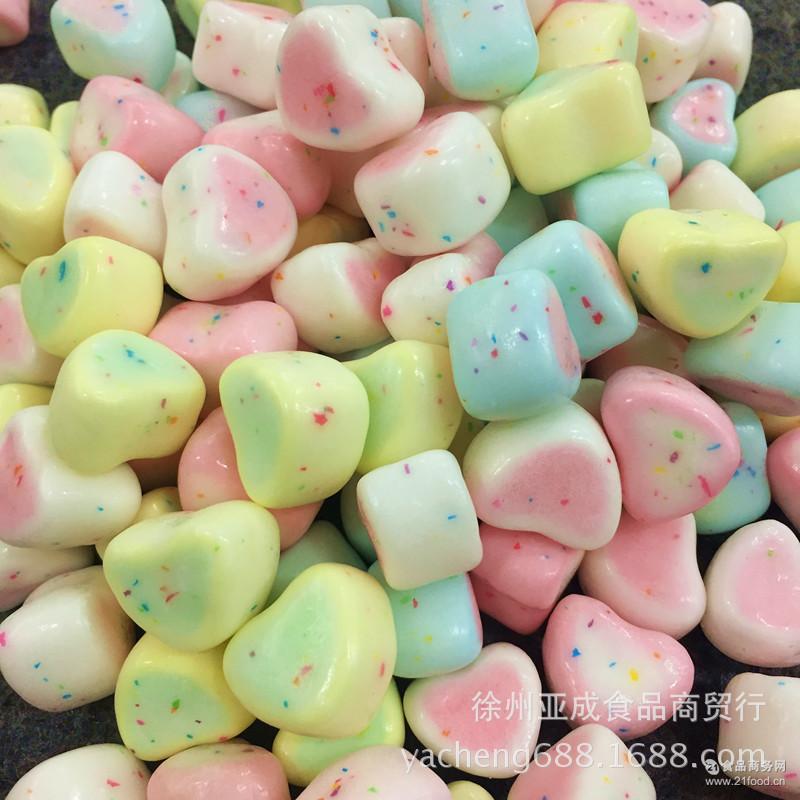 包邮多省多彩脆皮棉花糖 迷你爱心心形脆皮 棉花糖蛋糕装饰2斤