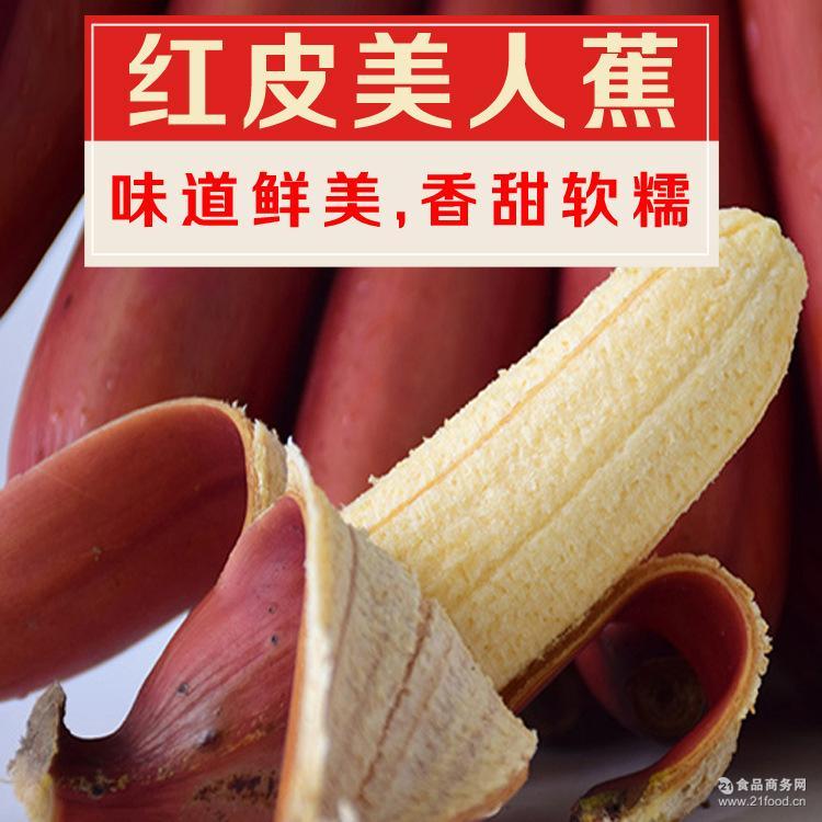 【一件代发】土楼特产红香蕉玫瑰蕉火龙蕉红皮香蕉美人蕉5斤包邮