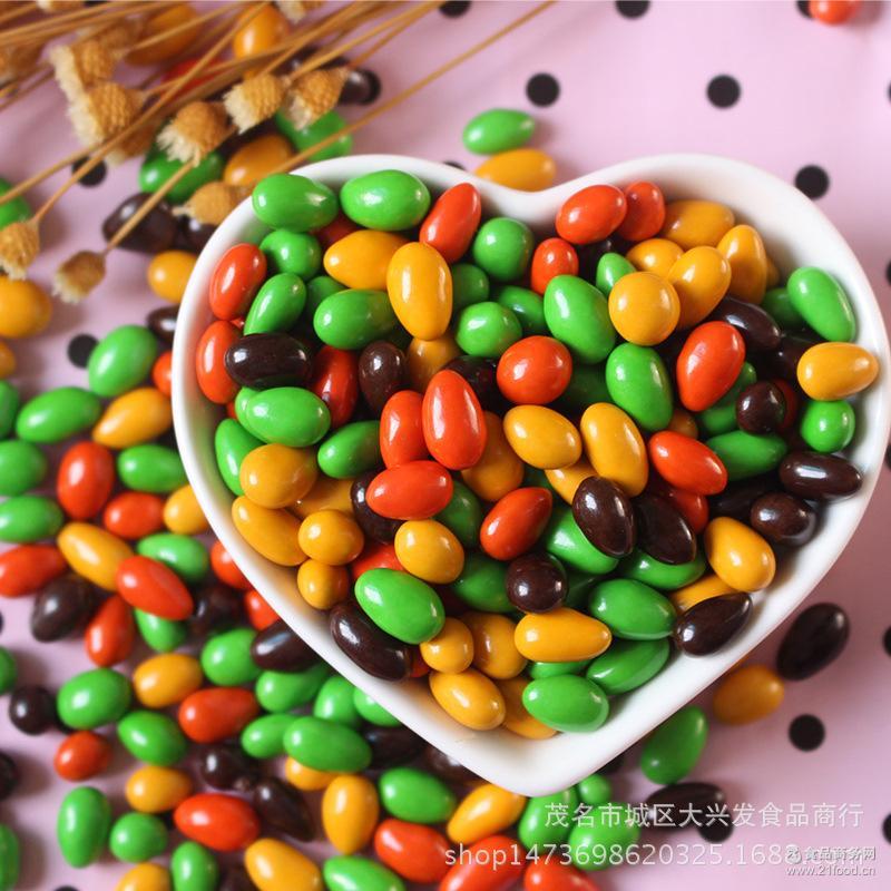 热销产品 七彩瓜子形状 批发散装瓜子仁巧克力 夹心彩