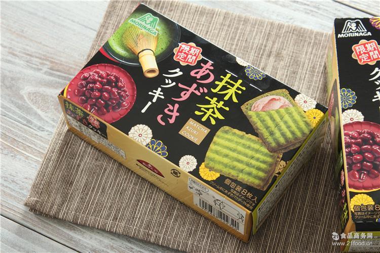 日本进口零食饼干 森永 红豆奶油夹心抹茶饼/抹茶曲奇8枚92.8g