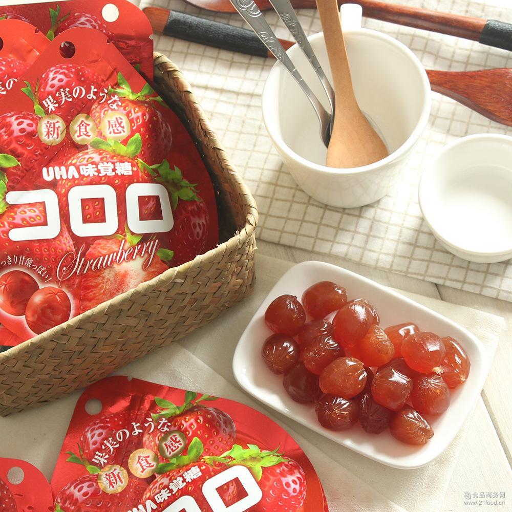 悠哈UHA *草莓果汁包裹软糖/QQ水果糖40g味觉糖 日本进口零食
