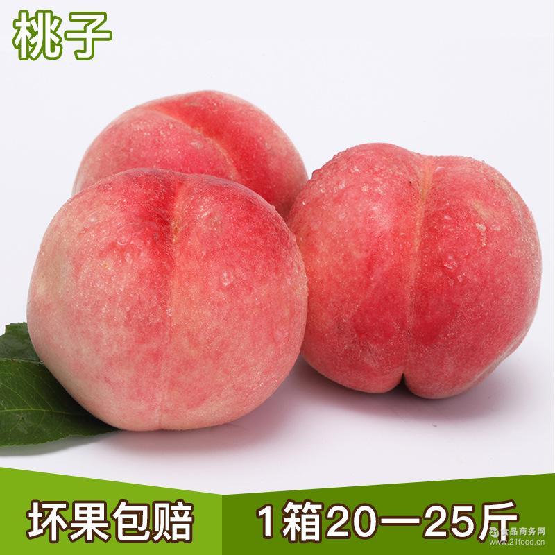 水果脆甜果肉丰富 现货批发水蜜桃 新鲜桃子20~25斤/箱