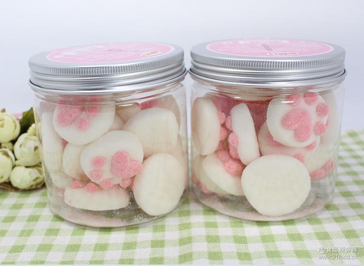 热销推荐罐装零食猫爪棉花糖 创意儿童零食猫爪糖果 咖啡伴侣软糖