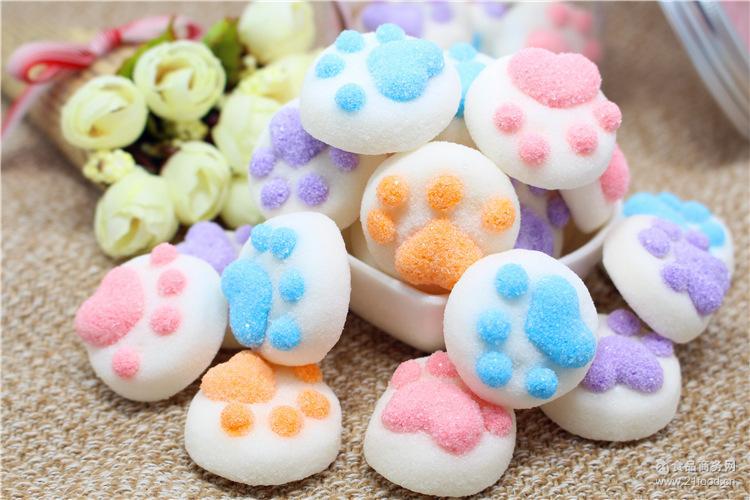 罐装彩色猫爪棉花糖100g 创意猫爪零食 糖果软糖咖啡伴侣一件代发