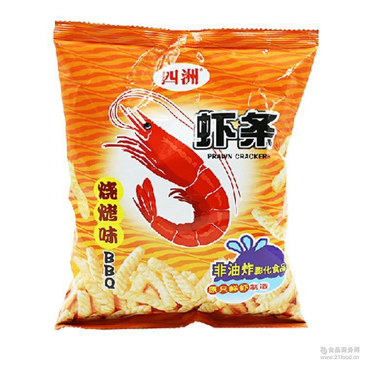 四洲虾条 膨化食品80g*20包/箱 烧烤味 原味