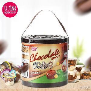 好遇星球杯巧克力饼干400g桶休闲零食 休闲食品糖果巧克力批发