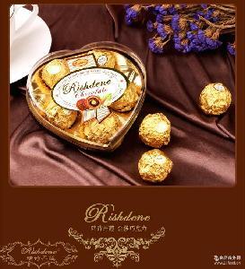瑞诗丹莲五粒爱心形礼盒结婚喜糖糖果情人节金莎巧克力批发