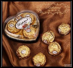 瑞诗丹莲三粒爱心形礼盒结婚喜糖糖果情人节金莎巧克力批发