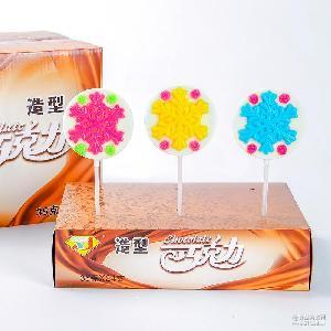 35g巧克力棒棒糖 散装造型糖果 批发非喜糖食品雪花造型巧克力