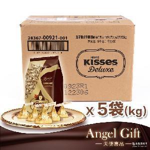 Deluxe喜糖休闲零食整箱 好时巧克力臻吻榛仁夹心牛奶1kg5袋