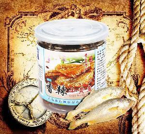 鑫方洲香辣小黄花鱼干片罐装海鲜零食小黄鱼150g厂家直销
