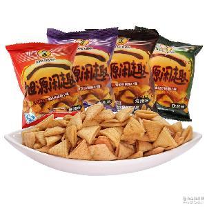 【旭源食品】闲趣妙脆角多味可选500g 香脆薯片膨化食品厂家批发