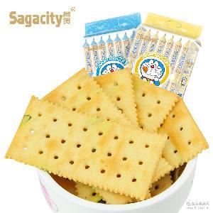 尚贤哆啦a梦进口苏打饼干 无糖苏打饼干 350g奶盐苏打饼干批发