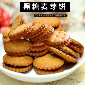 台湾升田黑糖麦芽饼 天然素食 500g黑糖夹心饼干厂家批发 无色素