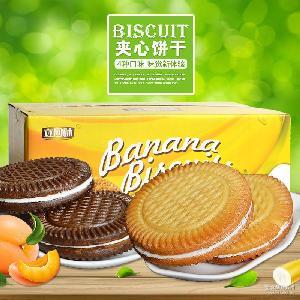 立回味1+1夹心饼干牛奶黄桃香蕉巧克力可选 散装休闲零食小吃点心