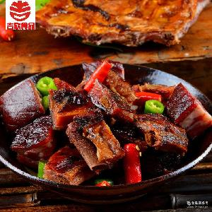 年货美食四川腊肉土特产农家烟熏腊味五香味猪排骨500g包邮 吉欣
