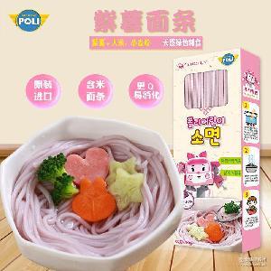 韩国进口POLI 变形警车珀利婴儿面条宝宝营养紫薯面300g儿童辅食
