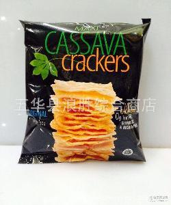 批发印尼进口梅西木薯脆片原味膨化食品50g 1箱*24包