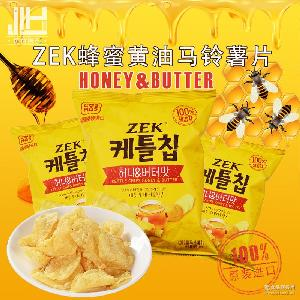 韩国原装进口 膨化酥脆零食品ZEK蜂蜜黄油马铃薯片土豆片60g袋