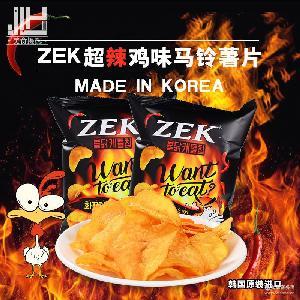 韩国进口ZEK超辣鸡味马铃薯片火鸡土豆片休闲膨化休闲零食品60g