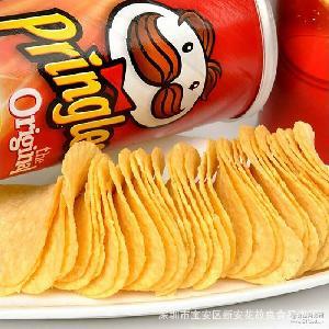 进口Pringles品客薯片洋葱味110g/罐含糖小零食膨化食品土豆片