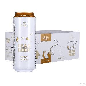 进口啤酒批发哈尔博白熊小麦啤酒500ml*24听5度麦香浓郁夏季促销