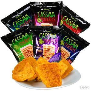 印尼进口零食梅西薯片啪啪通木薯片50g/袋原味火辣味膨化食品