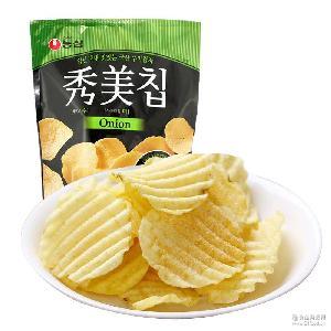 韩国进口零食 膨化小零食85g*12 农心秀美薯片土豆片洋葱味