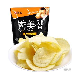 韩国进口零食 农心秀美薯片土豆片原味 膨化小零食85g*12