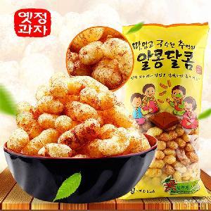 韩国进口膨化零食怡情焦糖玉米条板栗形爆米花195g*20包一件代发