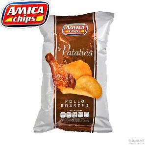 意大利休闲零食艾美佳薯片 进口膨化食品批发 烧鸡味100g*14袋