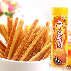 膨化食品土豆条烤薯棒非油炸(12盒/箱 韩国进口海太碳烤薯条108g