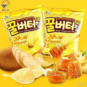 九日牌蜂蜜黄油薯片60g土豆片膨化零食(20袋/箱 韩国进口零食品