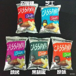印尼进口薯片食品 膨化休闲零食箱起包邮 Kernes克恩兹木薯片60g