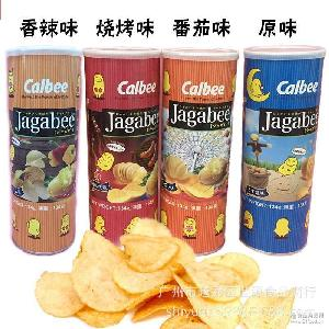 香港进口卡乐比calbee薯片膨化食品 卡乐b桶装薯片134g*18罐/箱